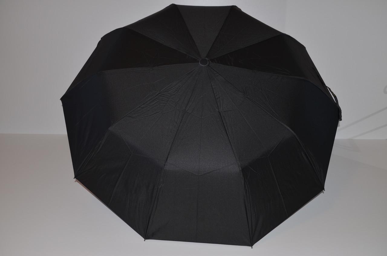 Мужской зонт-полуавтомат с ручкой полукрюк и системой антиветер от Popular, черный, 1083-1