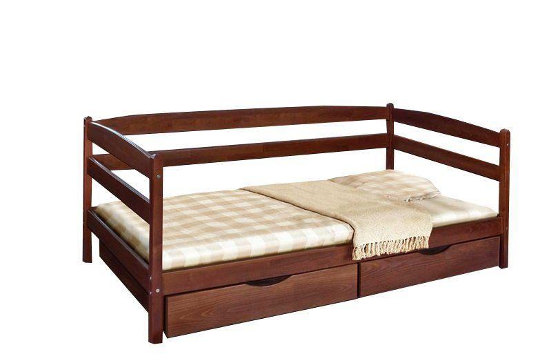 Кровать Ева с ящиками 90 х 200 см (орех темный)