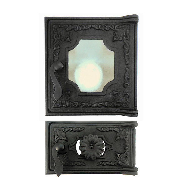 Дверцы для печи со стеклом 270х285 мм, дверка печная чугунная 102871К с регулировкой подачи воздуха