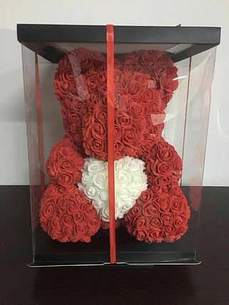 Мишка из 3D роз 40см в красивой подарочной упаковке мишка Тедди из роз оригинальный подарок девушке Оригинал, фото 2