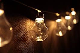 Декоративная LED гирлянда Лампочки на батарейках 8 лампочек декор