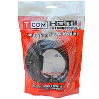 "Шнур HDMI (штекер HDMI - штекер DVI), ""позолоченный"", с фильтрами, диам.-8мм, 5м, Tcom"