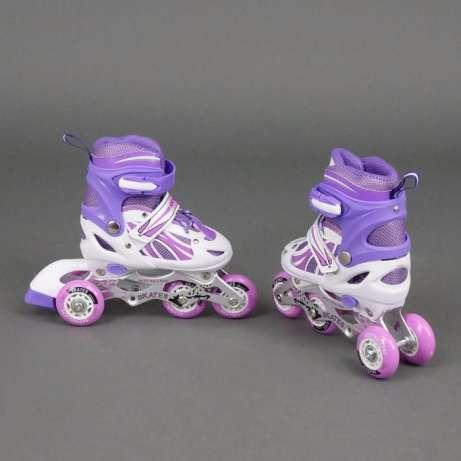 Ролики роликовые коньки с светящимися колесами безшумные раздвижные