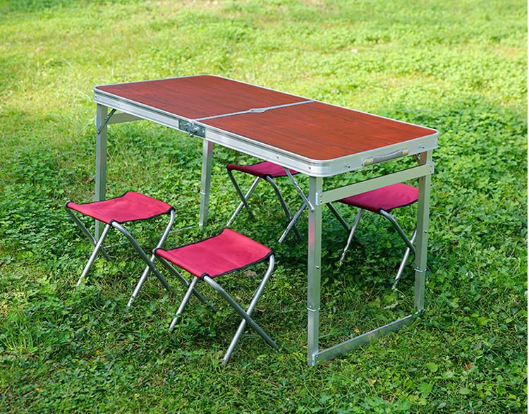 Стол, столик, раскладной, усиленный, качественный, с 4 стульями, отверстием под зонт, туристический, рыбацкий