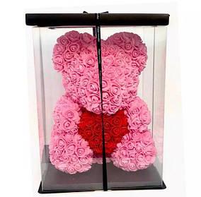 Розовый Мишка из роз 40 см + красивая подарочная упаковка