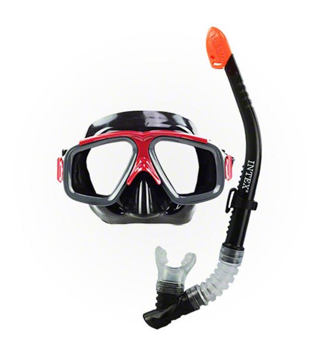 Набор маска с трубкой с двумя клапанами для подводного плаванья хорошего качества intex pro