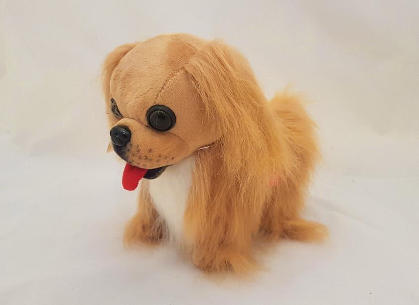 Собака, собачка, бегает, лает, поет песенку, интерактивная, Пекинес, на батарейках интерактивная игрушка