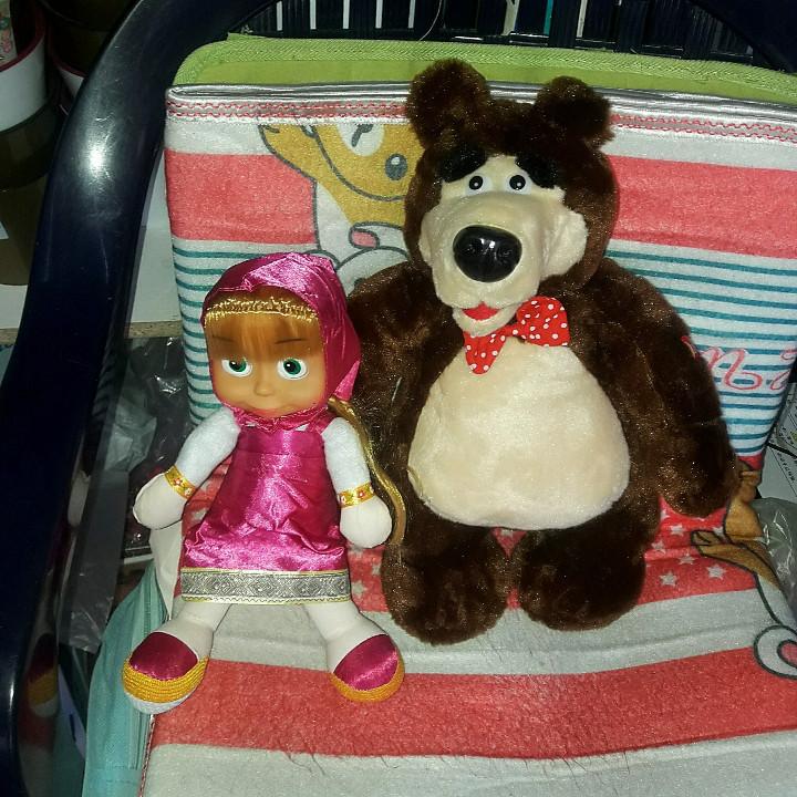 Іграшка маша і ведмідь в комплекті м'які співають пісню стильні лучьший подарунок для дитини