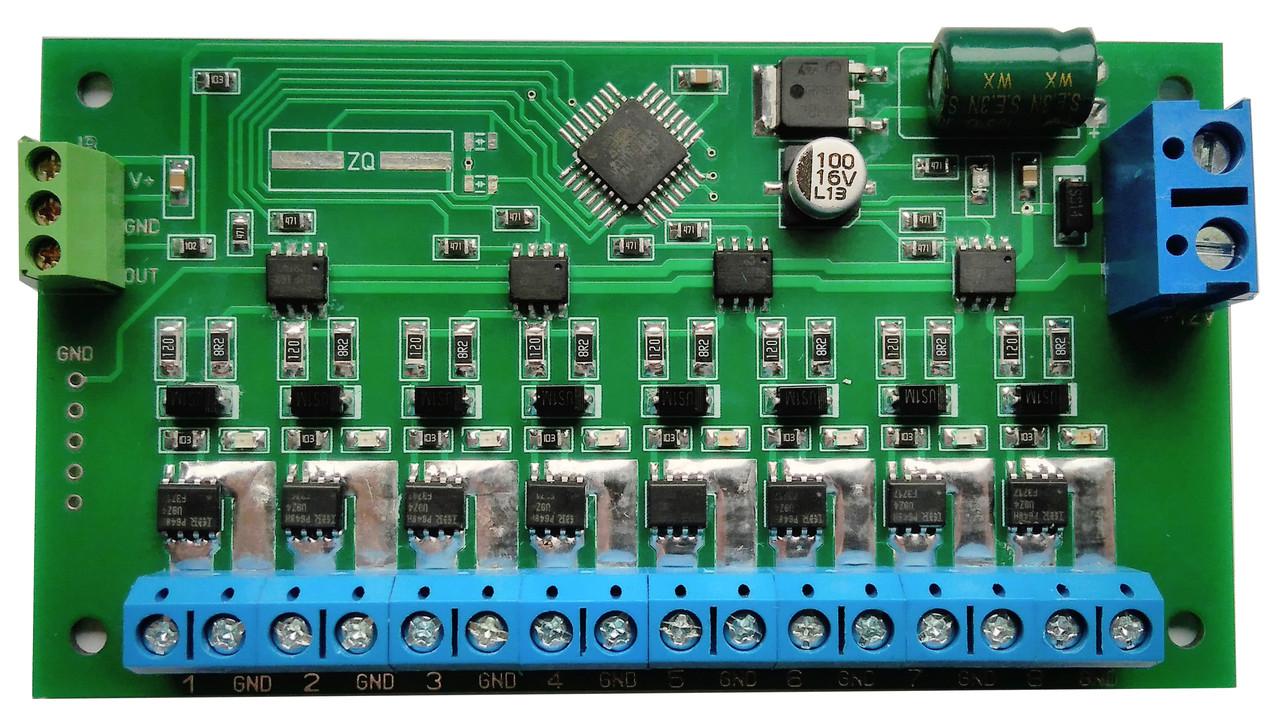 Плата контролера світлодинамічних ефектів 8 каналів посилена