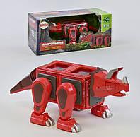 Магнитный конструктор Динозавр красный с звуковыми и световыми эффектами