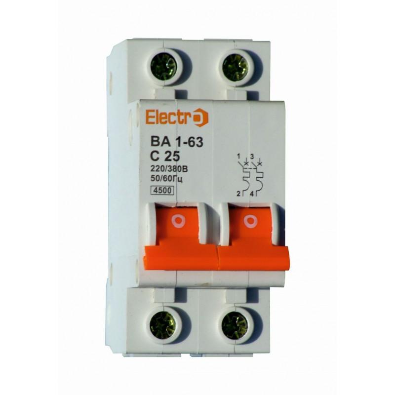 Автоматический выключатель 2 полюсный 2 Ампера ВА1-63 4,5kA