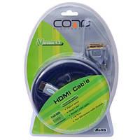 """Шнур HDMI (штекер HDMI - штекер DVI), Hi-Fi, """"позолоченный"""", с фильтрами, 5м (в блистере), COMP"""