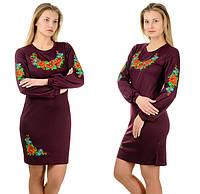 """Платье-вышиванка """"Цветы"""" с длинным рукавом (марсала), фото 1"""