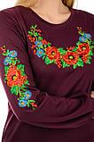 """Платье-вышиванка """"Цветы"""" с длинным рукавом (марсала), фото 6"""