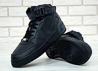Мужские кроссовки черные Nike Air Force Black кожаные (реплика +ААА), фото 1