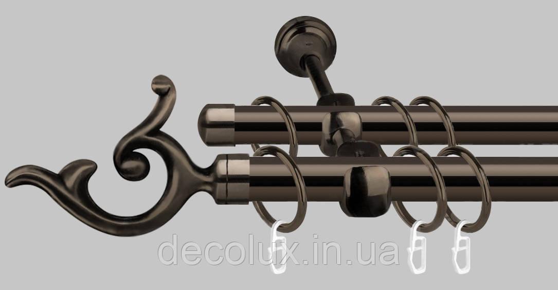 Карниз для штор металлический, двухрядный 19 мм, черный блеск  (ЕМ148)
