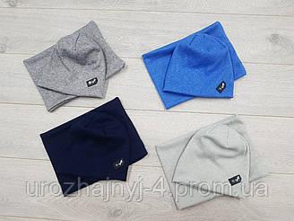 Комплект шапочка и хомут для малышей подкладка х/б р44-46. 4 шт в упаковке.