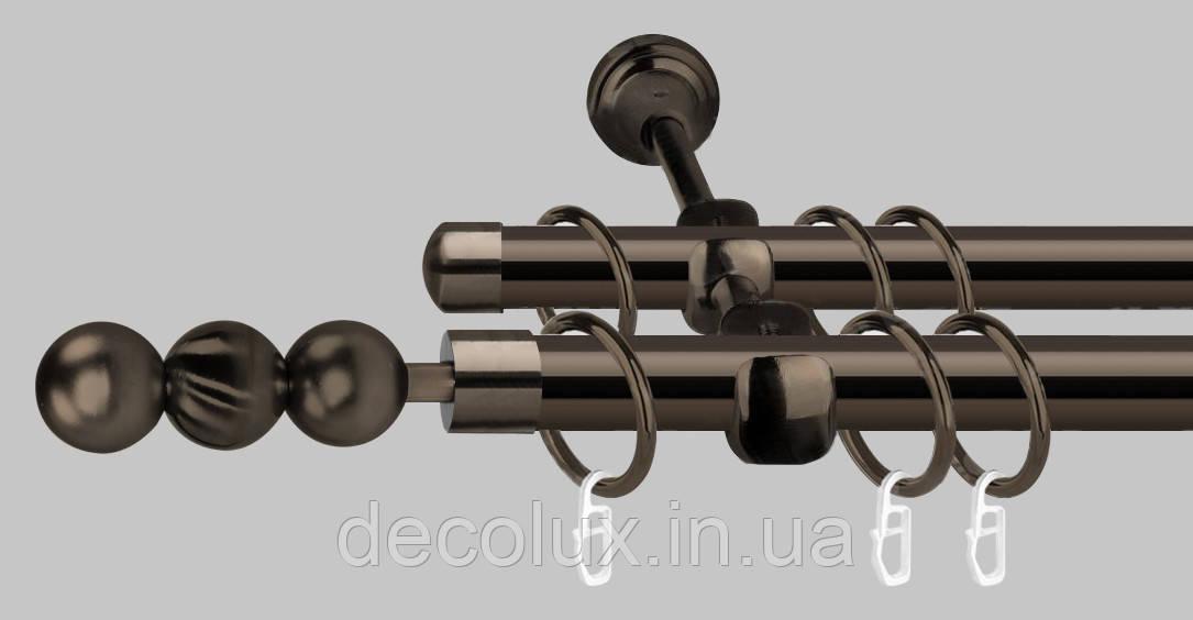 Карниз для штор металлический, двухрядный 19 мм, черный блеск  (ЕМ151)