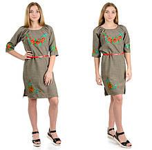 """Жіноче плаття-вишиванка """"Калина"""" (оливка)"""