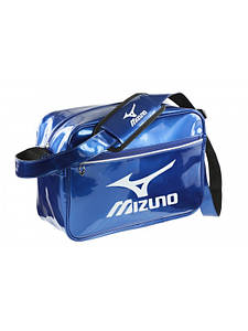 Сумка лаковая Mizuno. Цвет синий. Белый логотип Mizuno. Размер S (36x14x25cm)