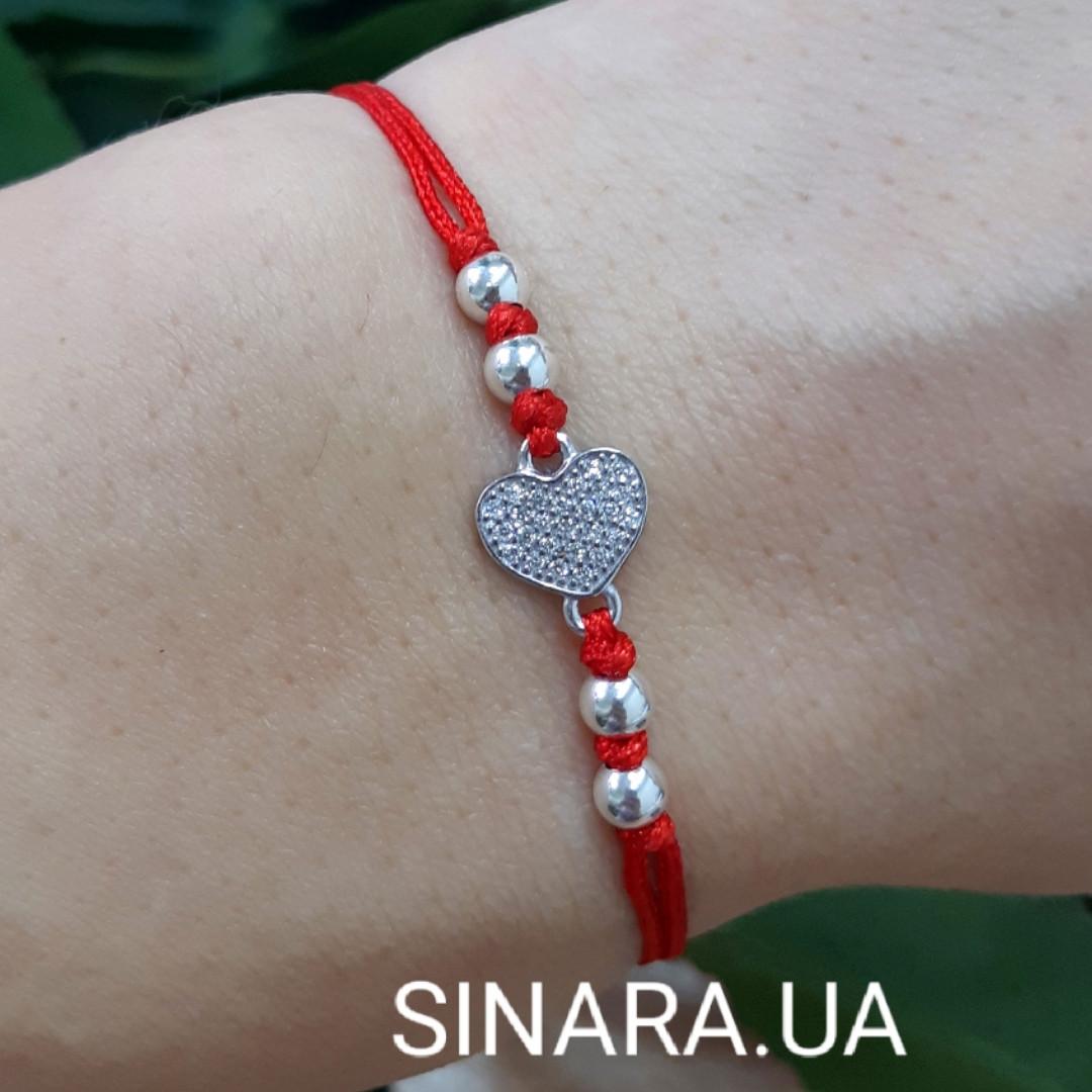 Браслет оберег на руку красная нить Сердечко - Браслет красная нить с серебром Сердце