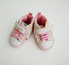 Модные Белые Детские Кеды Пинетки на Шнурках-резинках.Стильные Кеды Для Малышек 3-6 Месяцев BRUMS, Италия