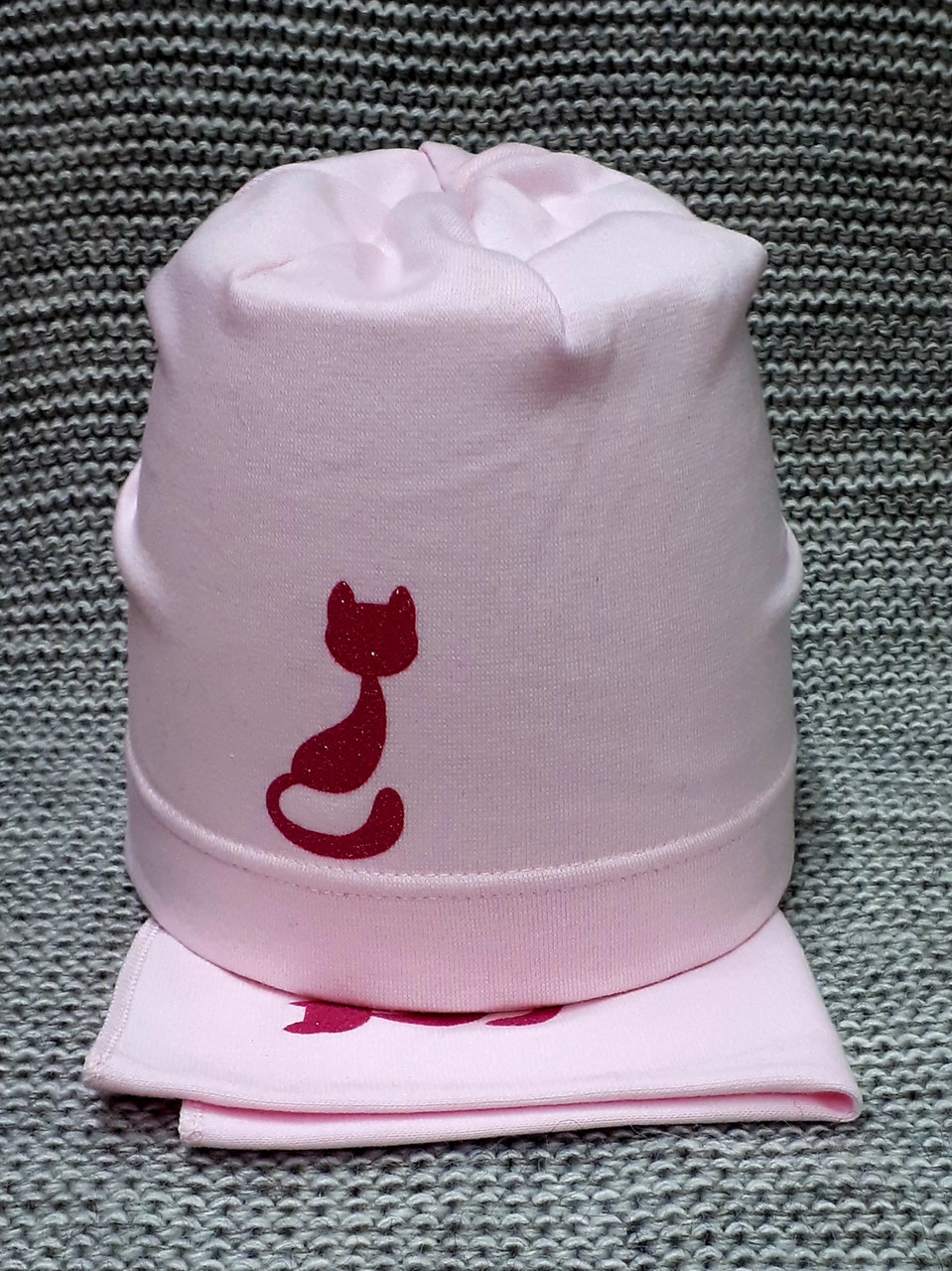 Комплект шапка + хомут весна-осень на девочку розового цвета AGBO (Польша)  размер 46 48 50