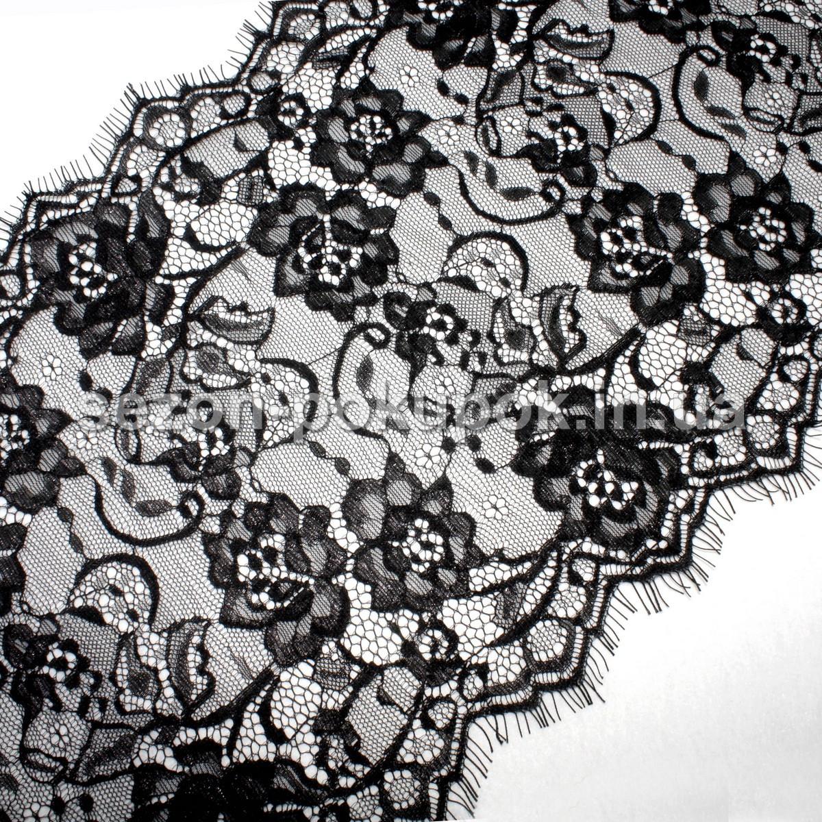 (цена за 3 метра) Французское кружево (Шантильи, с ресничками) ширина 24см Цвет - черный