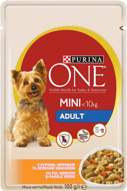 Влажный корм для собак Purina One Mini Adult c курицей, морковью и зеленой фасолью в подливе 100 г