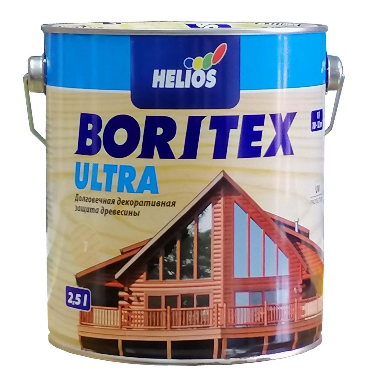 Лазурь для дерева с содержанием воска HELIOS BORITEX Ultra, бесцветная, 2,5л