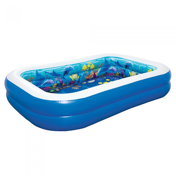 Детский надувной бассейн Подводный мир Bestway 54177,размер  262-175-51см