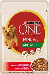 Влажный корм для собак Purina One Mini Active c говядиной, картофелем и морковью в подливе 100 г