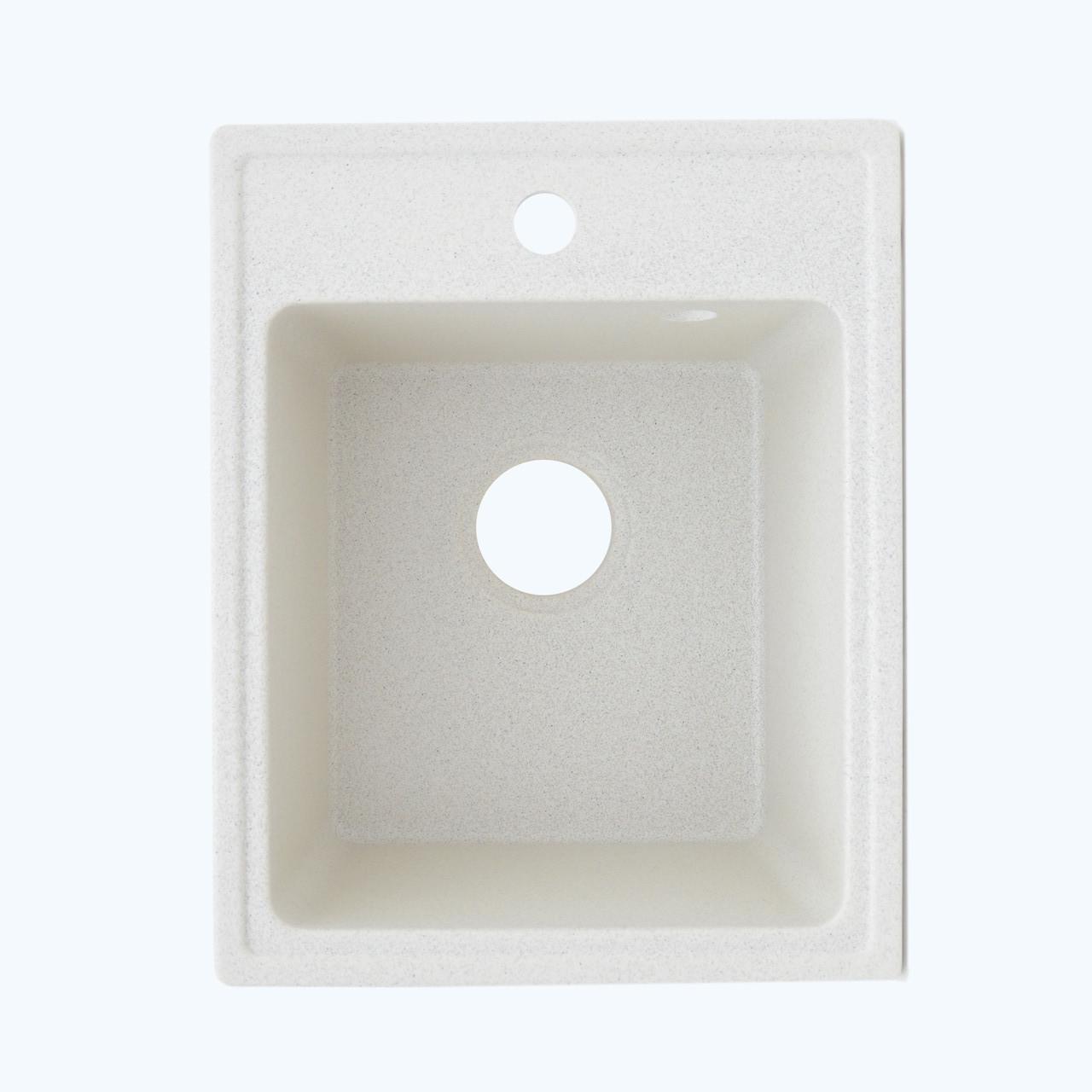 Гранитная мойка Platinum 4050 RUBY глянец белая с точкой