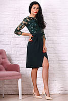 Нарядное женское платье с разрезом бутылочное размер 44,46,48,50