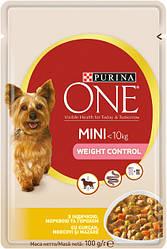 Влажный корм для собак Purina One Mini Weight Control c индейкой, морковью и горохом в подливе 100 г