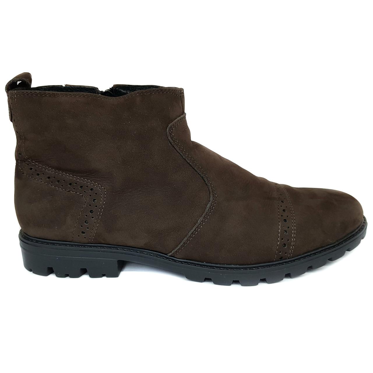 Зимние мужские кожаные ботинки из нубука Dan Shoes коричневые на меху