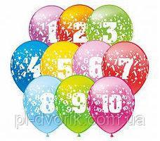 """Цифры """" В наборе цифры от 0 до 9 по 10 штук каждого номинала. Шары латексные 12"""" (30 см) пастель ассорти. Шари"""