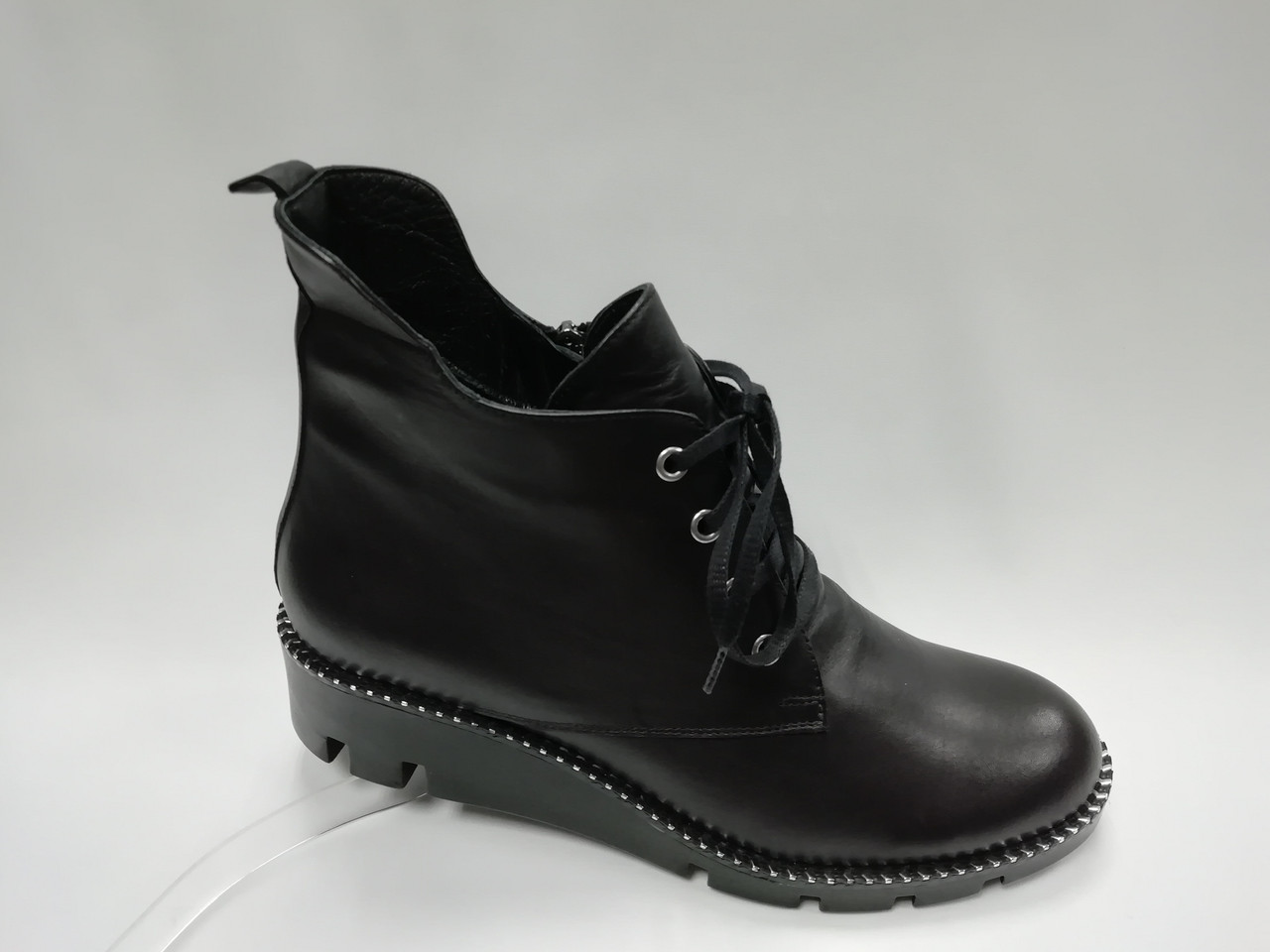 Черные кожаные ботинки. Большие размеры. Ботильоны. Турция.