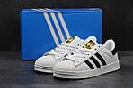 Мужские кроссовки Adidas Superstar (бело-черные) , фото 4