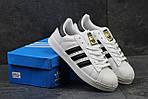 Мужские кроссовки Adidas Superstar (бело-черные) , фото 5