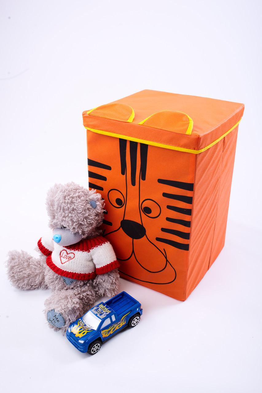 Детский ящик для игрушек с крышкой Тигр 30*30 см