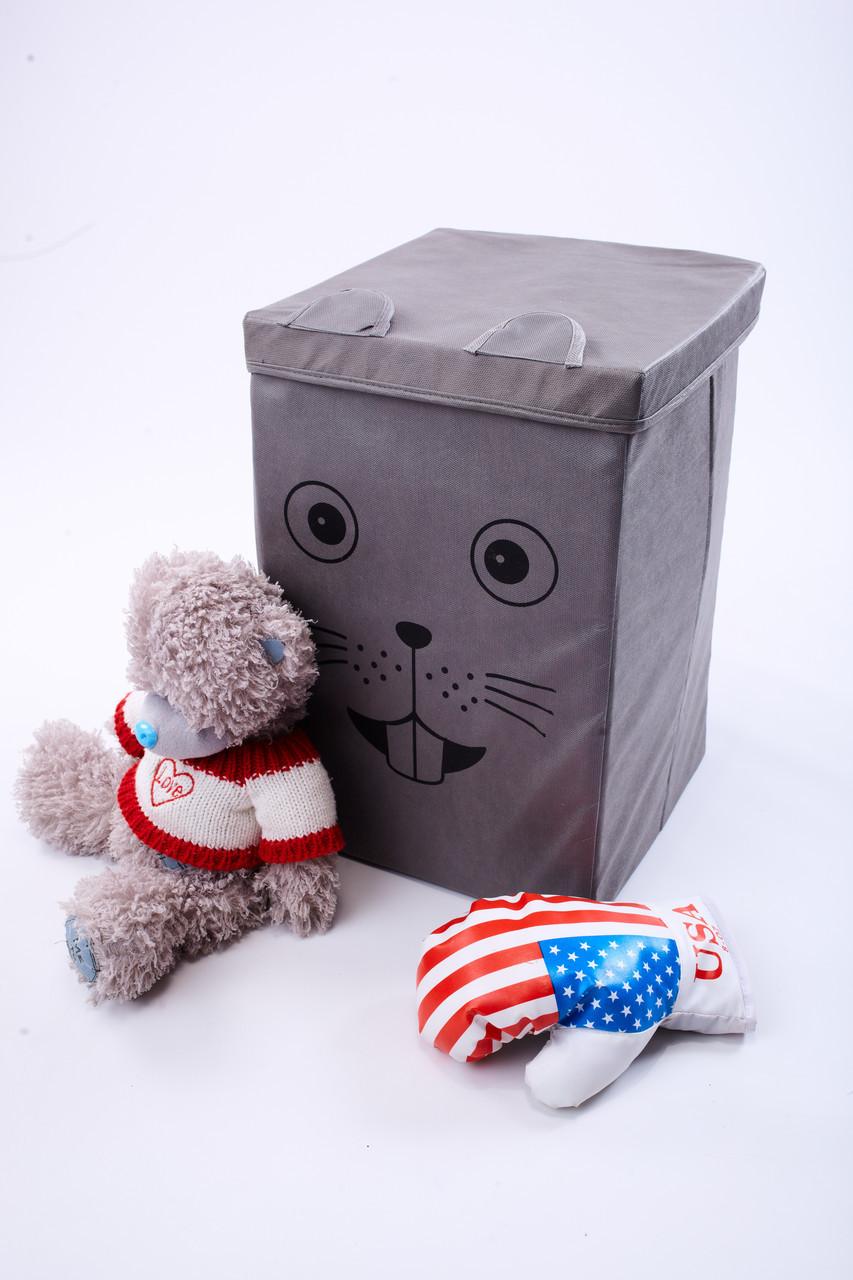 Детский ящик для игрушек с крышкой Мышка 30*30 см