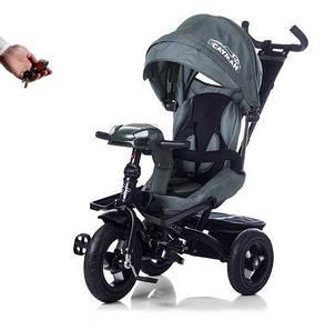 Дитячий триколісний велосипед з пультом управління і USB. Tilly Cayman T-381 сірий, колеса надувні, фото 2