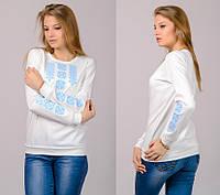 Женская трикотажная блузка-вышиванка (молочно-белая), фото 1