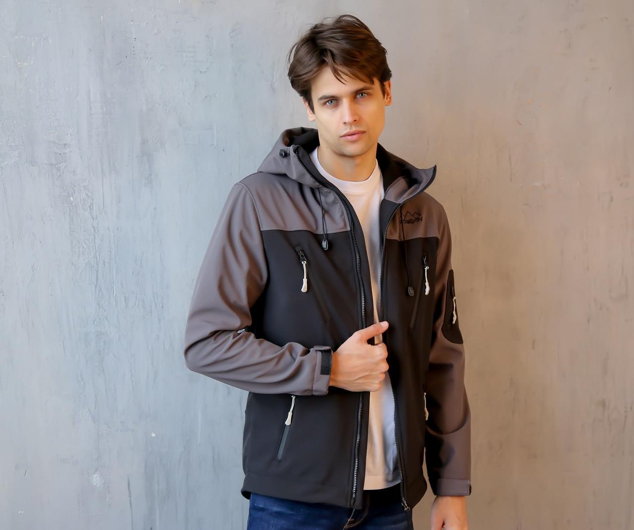 92f4ec3352510 Мужская Весенняя куртка (серо-черная) - INTRUDER | Интернет- магазин  мужской одежды