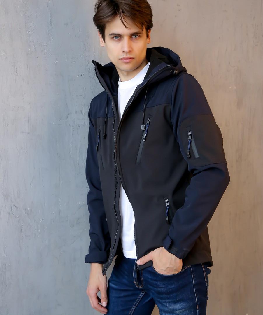 Мужская Весенняя куртка (сине-черная)