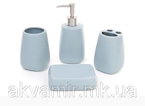Набор аксессуаров для ванной комнаты (цвет - голубой): дозатор, подставка для зубных щеток, стакан, мыльница