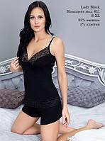 Пижама майка с шортиками ЛЮКС вискоза черное кружево, фото 1