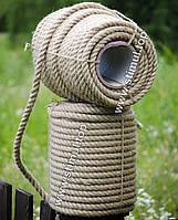 Канат джутовый веревка 14 мм х 50 м - пенька - мотузка джутова
