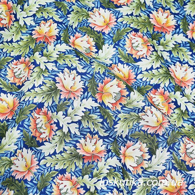48003 Диковинный цвет. Ткань с изящным рисунком. Красочный хлопок. Ткани для шитья и декора.